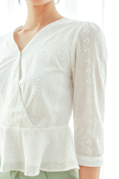 Kaia Embroidered Peplum Top (White)