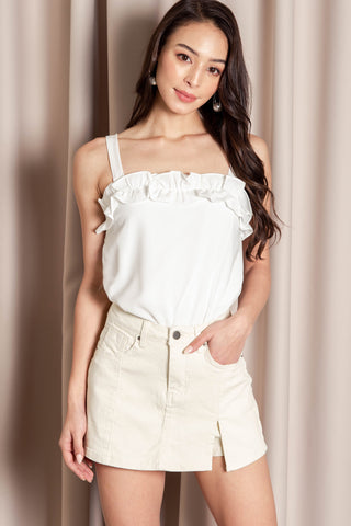 Thalia Ruffle Top (White)