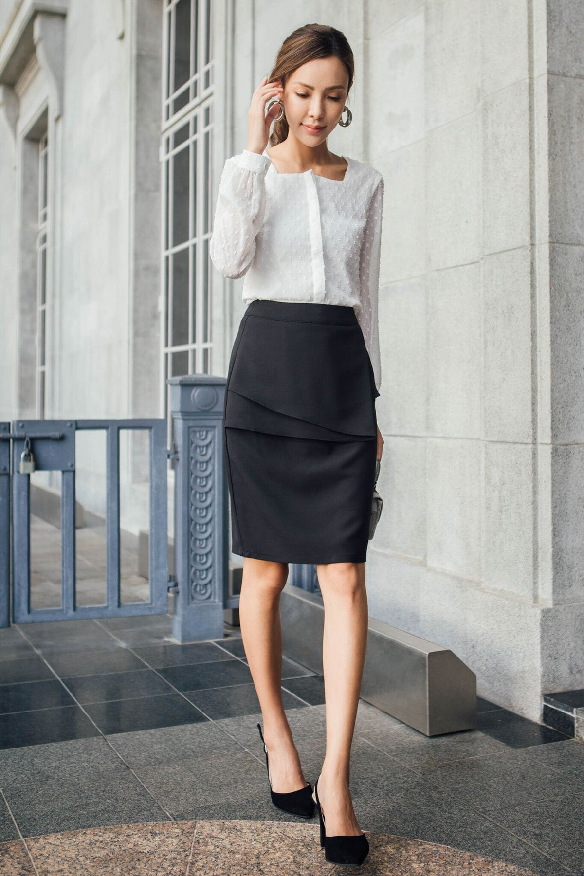 Everett Pencil Skirt (Black)