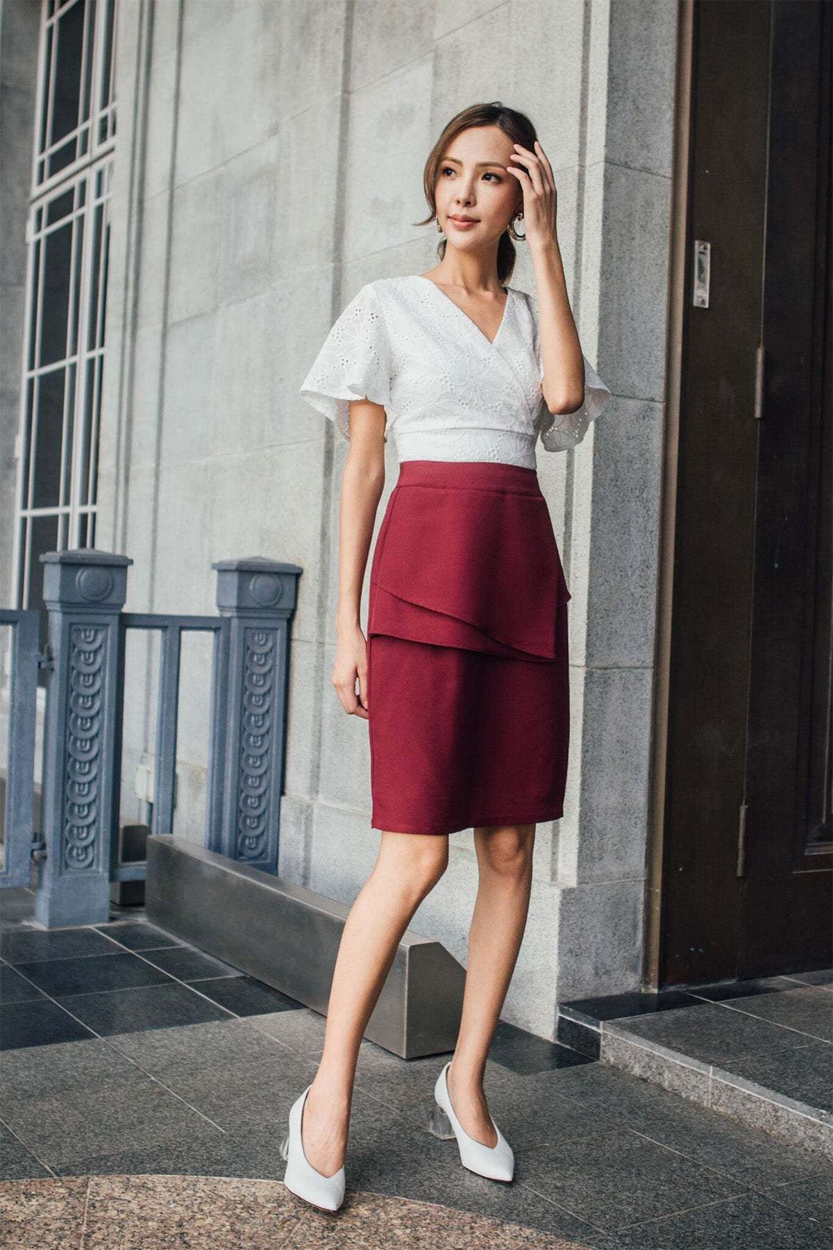 Everett Pencil Skirt (Wine Red)