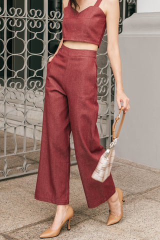 Raegan Denim Wide Leg Pants (Red)