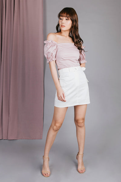 Riley Ruffle Off Shoulder Top (Pink)