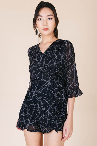Kaelyn Abstract Print Playsuit (Black)