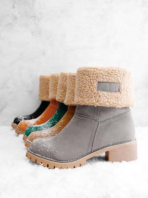 Women's Leather Ankle Snow Boots