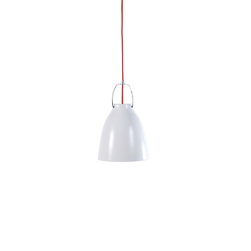 Pendant Light - White with red fabric cable