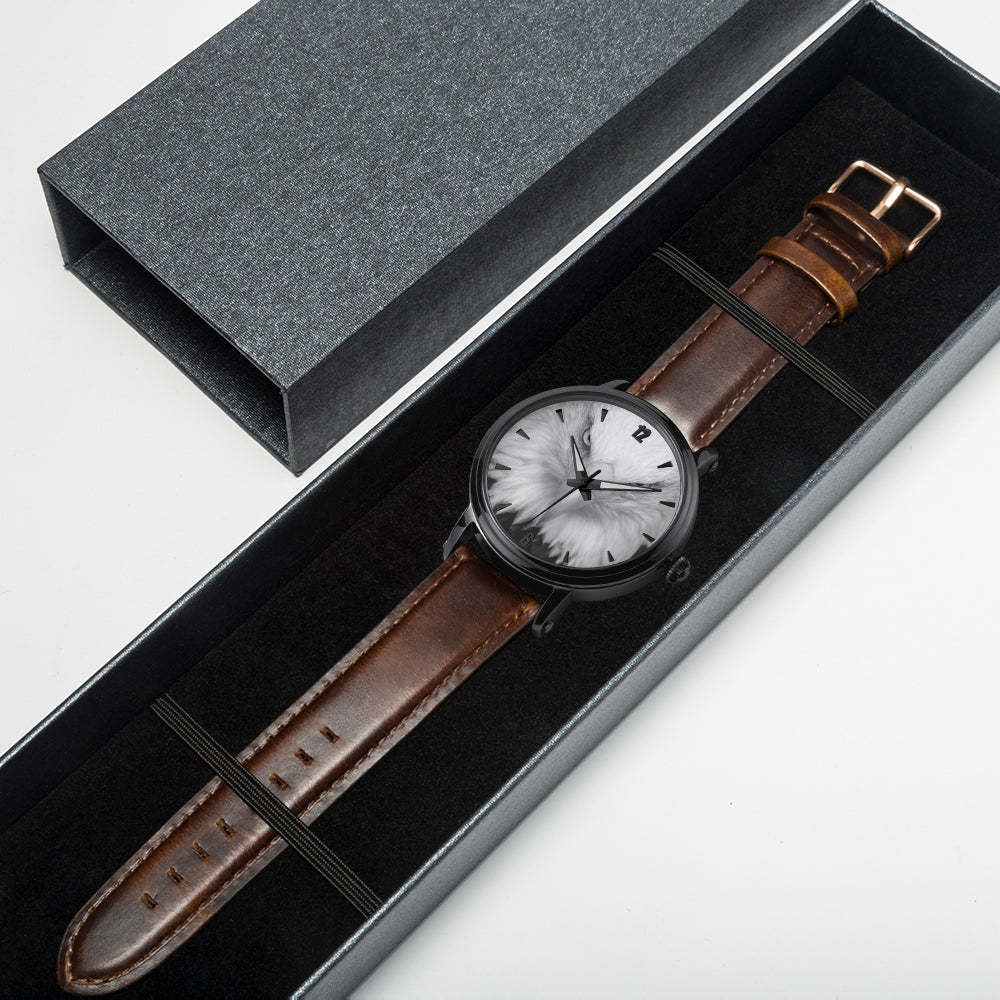 Genuine Leather Stainless Steel Watch.