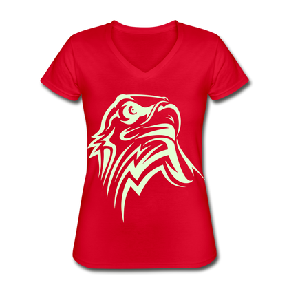 Eagle Women's V-Neck T-Shirt - red