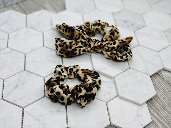 SCRUNCHIE BOW:  ANIMAL PRINTS