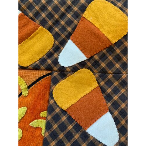 candy corn quilted wool applique