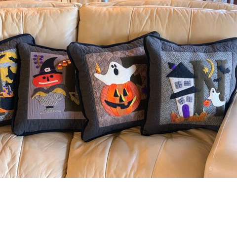 Halloween quilted applique pillows
