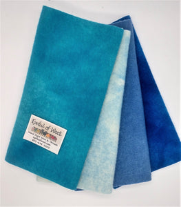 Blue Skies Brite Bundle, Blue, Aqua, Navy Wool
