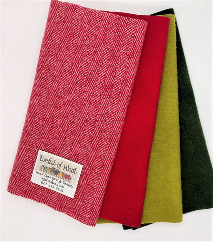 Christmas Trim Brite Bundle, Red , Green Wool