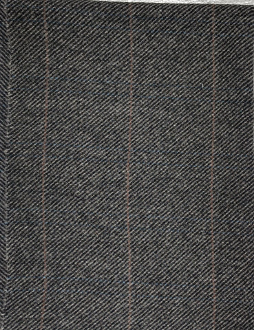 Textured Wool Grey Plaid with thin Brown stripe