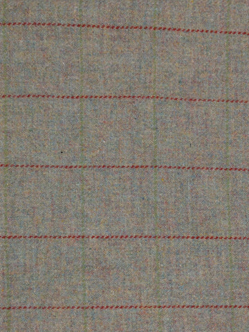 Textured Wool Light Tan Plaid with faint green/yellow and thin red stripe