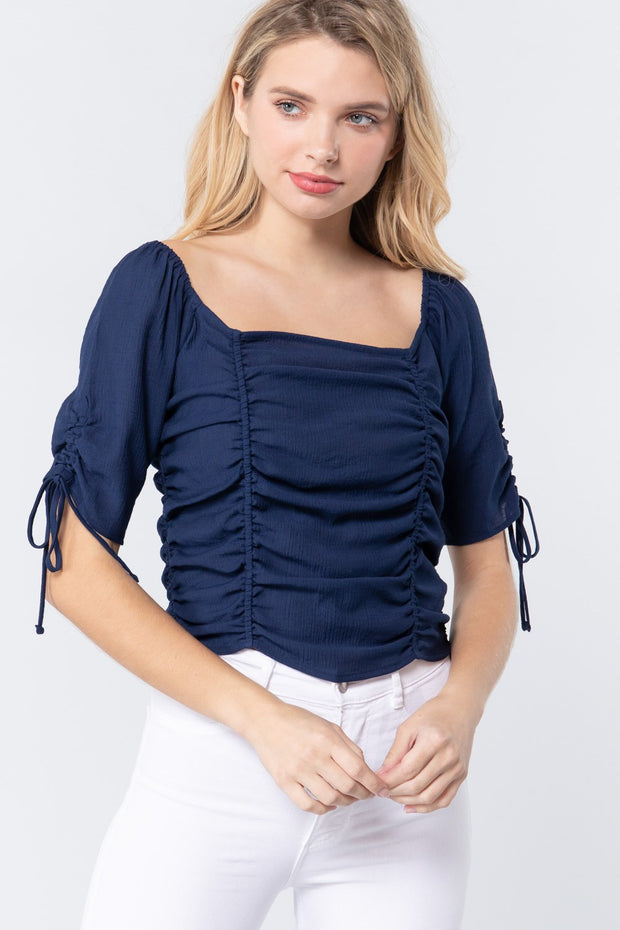 Elbow Slv Smocked Ruched Woven Top
