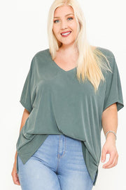 Side Slit With V-neck Dolman Short Sleeve Solid Blouse