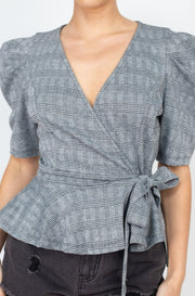 Plaid Front Wrap Design Top