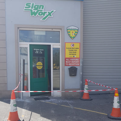 Signage Donegal, Trade Signs Ireland, 3D Lettering, Laser Engraving, Laser Cutting, CNC, Retail, Trade, Industry, Office, Home, Auto, social distancing, perspex screens, protective screens,  Barrier Tapes, Hazard Marking Tapes, Covid19 Tape, Safe Distancing Tapes, Face shields, Visors, Sanitising Stations