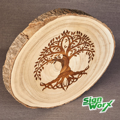 Wood Slice with Tree of Life engraved, viewed from slightly different angle, add your name or short message to it to personalise or choose your own design, by Signworx.ie