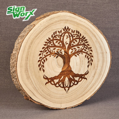 Wood Slice with Tree of Life engraved, add your name or short message to it to personalise or choose your own design, by Signworx.ie