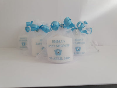 Personalised Set Of 10 Blue Baby Shower Candles
