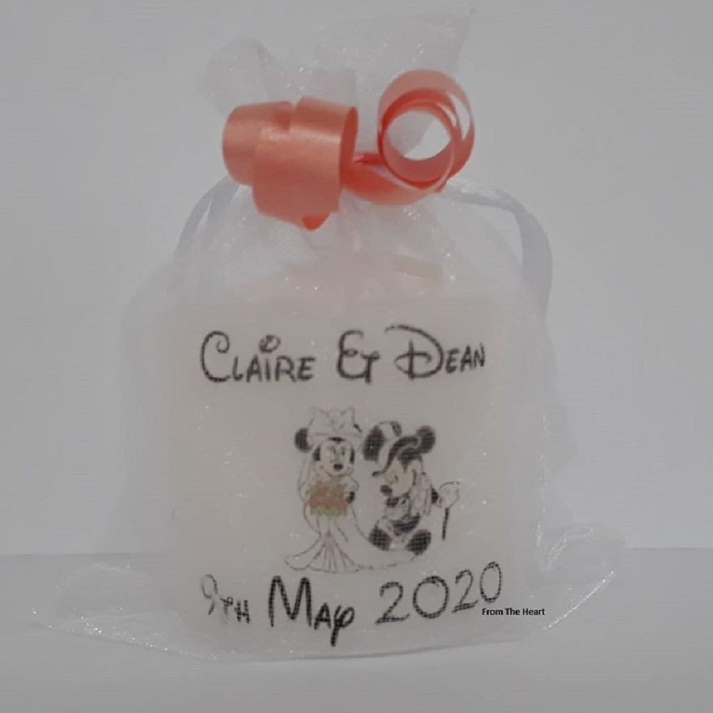 Set Of 10 Personalised Bride & Groom Mickey & Minnie Mouse Wedding Favours