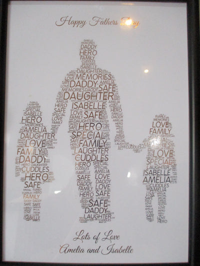 Dad With 2 Daughters Foiled Word Art Print