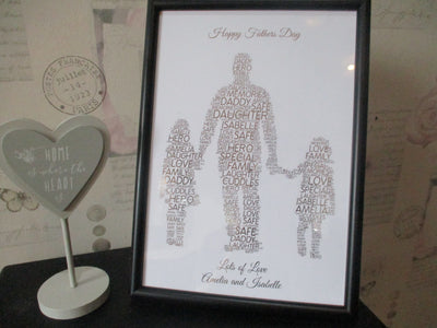 Dad With 2 Daughters Foiled Print