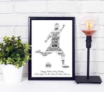 Personalised Football Playing Man Word Art