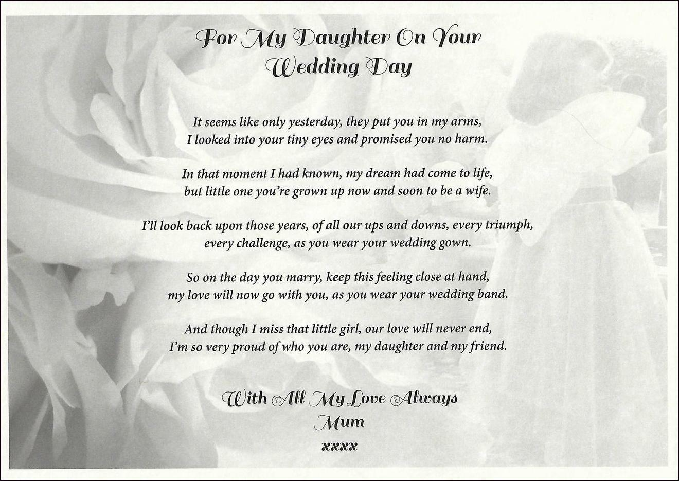 A4 Mum To Daughter Personalised Wedding Day Poem