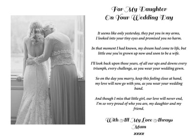 "Personalised ""For My Daughter On Your Wedding Day"" Print"