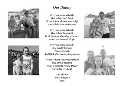 A4 Personalised Fathers Day Poem/Gift With 4 Photos
