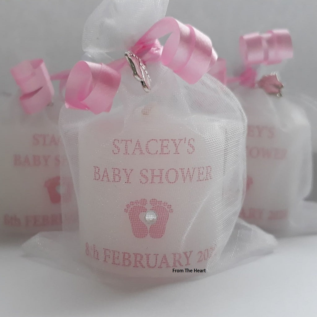 Personalised Set Of 10 Pink Baby Shower Candles