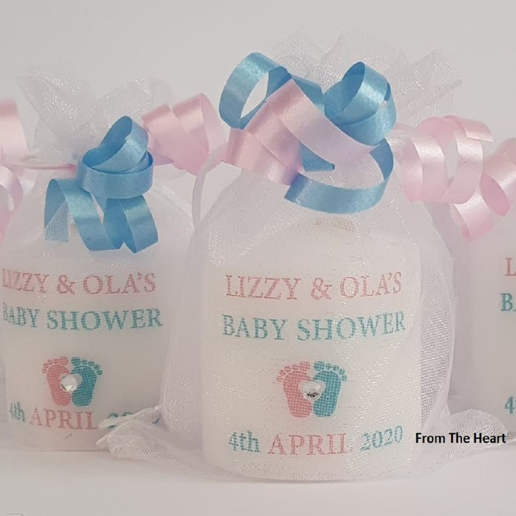 Personalised Set Of 10 Pink & Blue Baby Shower Gender Reveal Candles