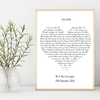 Personalised Foiled Heart Song Lyric Print