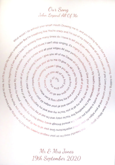 Personalised Foiled Spiral Print Song Lyrics