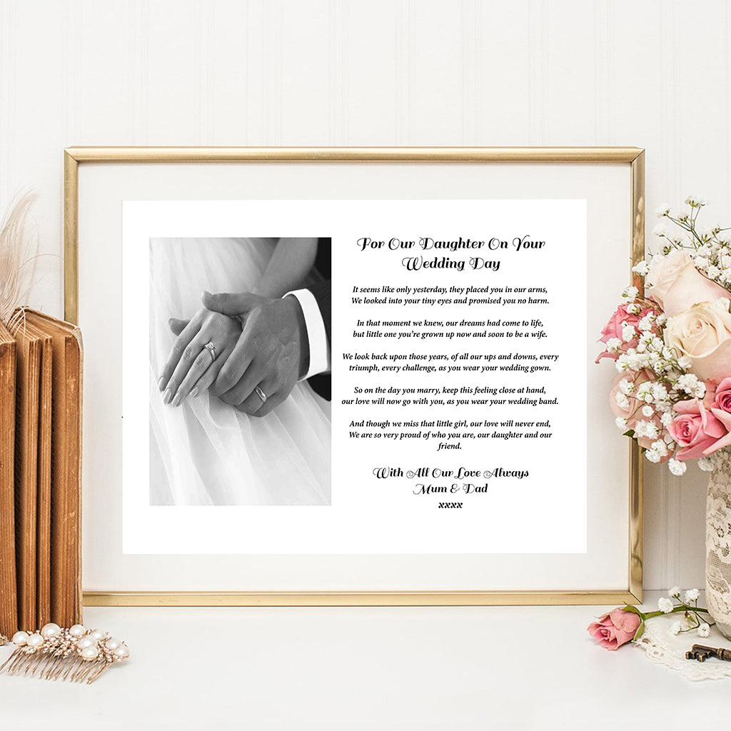 "Personalised ""For Our Daughter On your Wedding Day"" Photo Print"