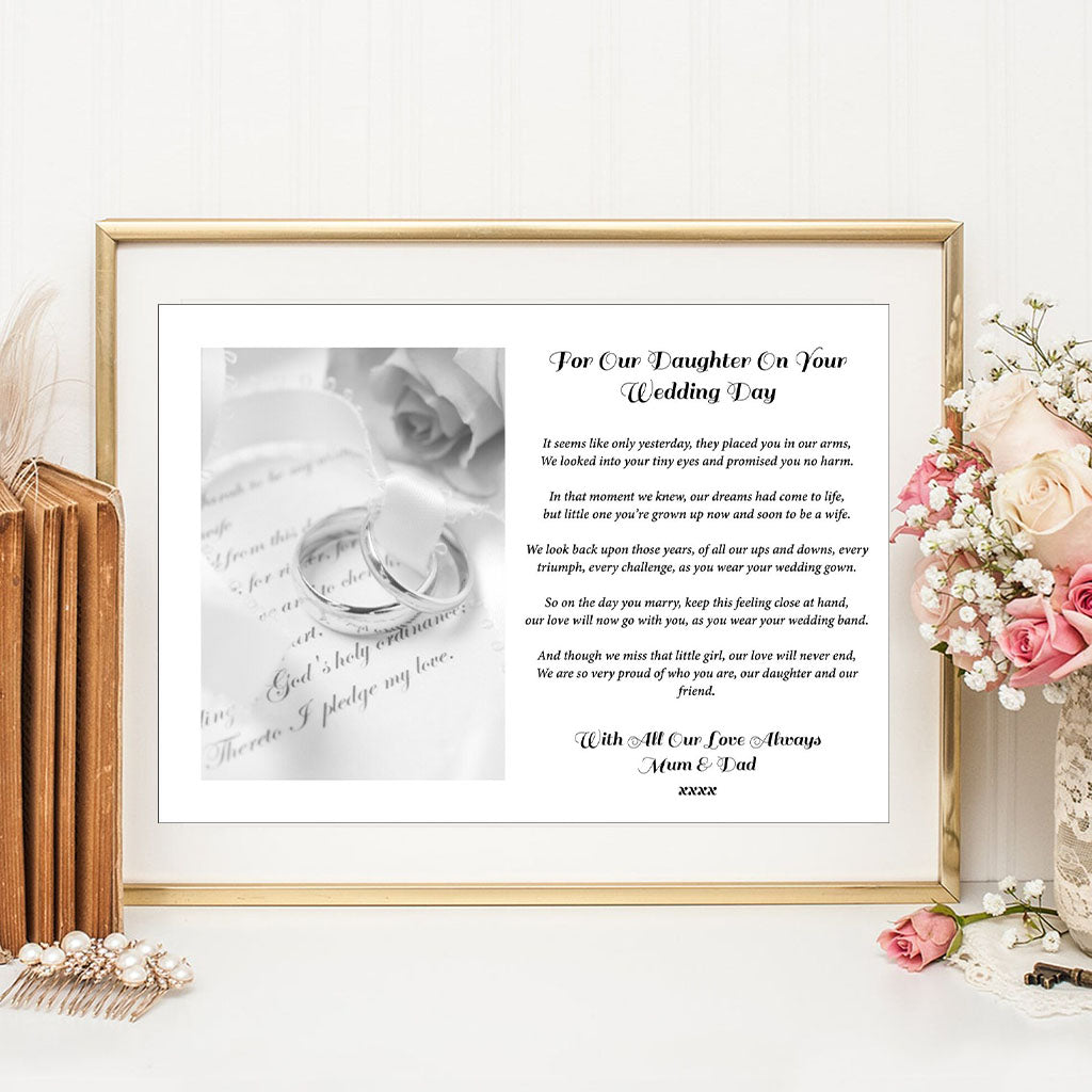 Personalised A4 For Our Daughter On Your Wedding Day Print