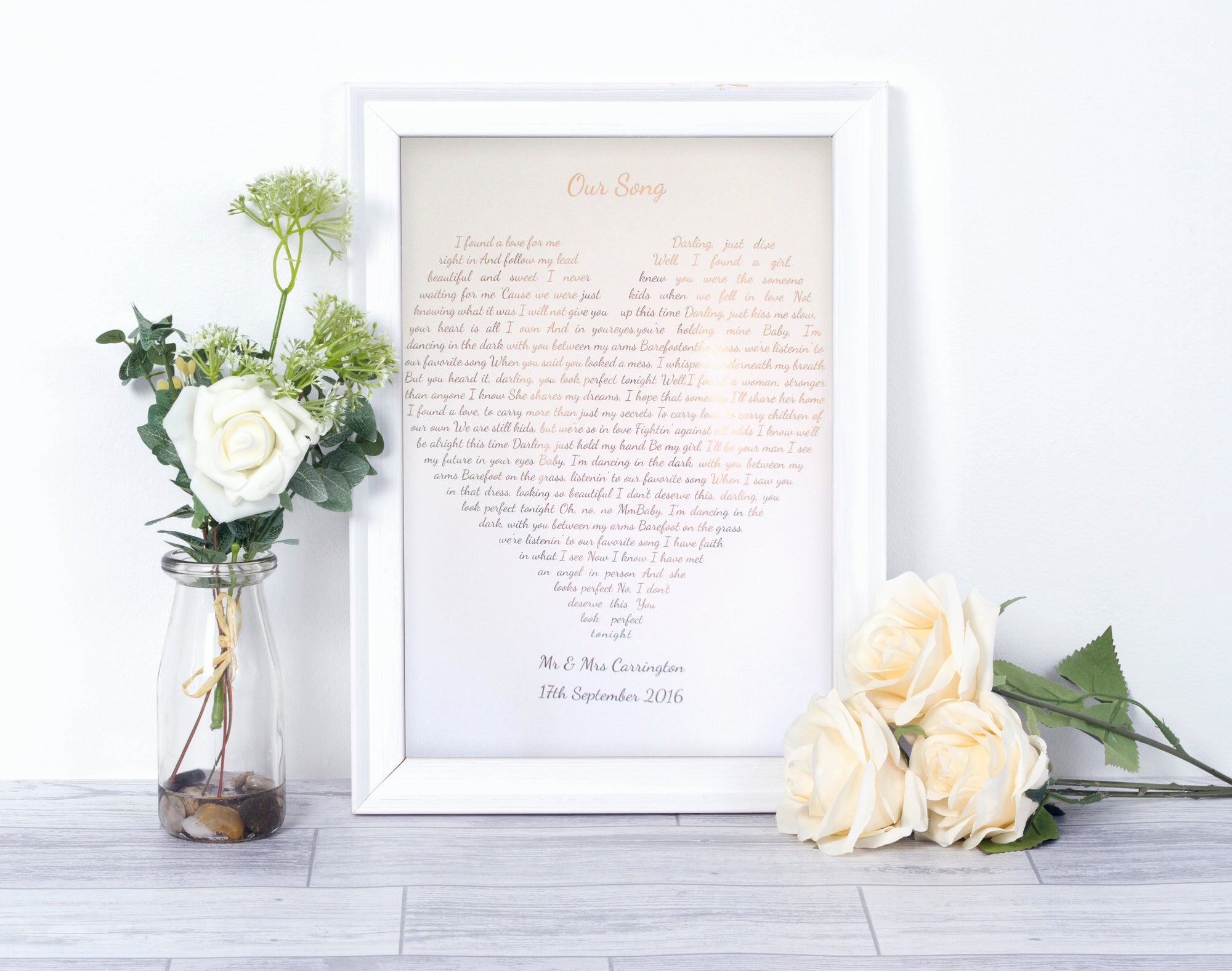 Personalised Foiled Heart Shaped Song Print