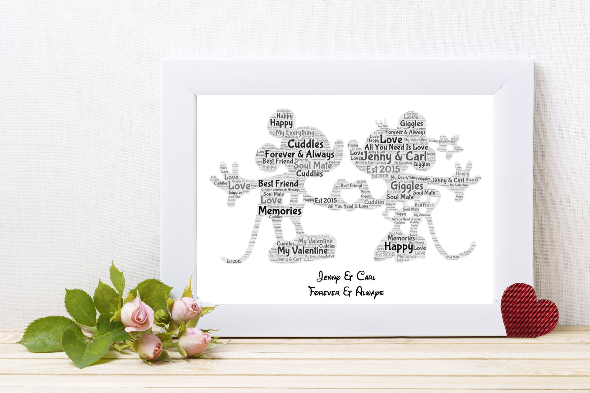 Personalised Mickey & Minni Word Art Print
