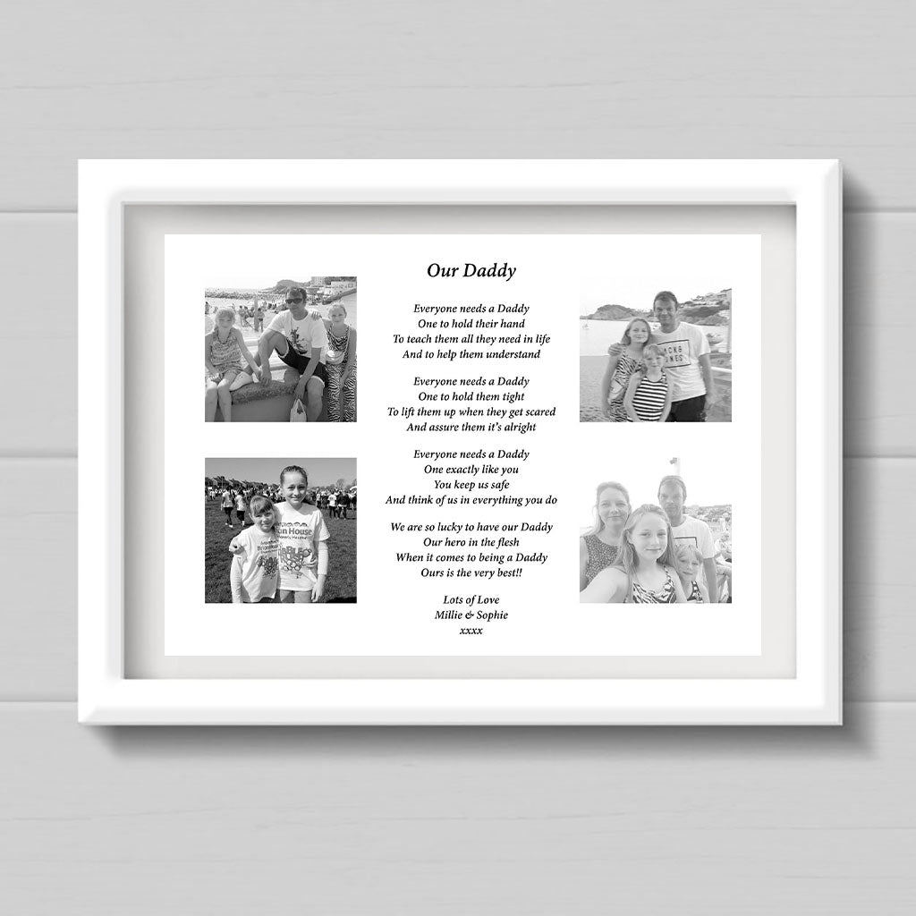 Personalised A4 Our Daddy Fathers Day Poem