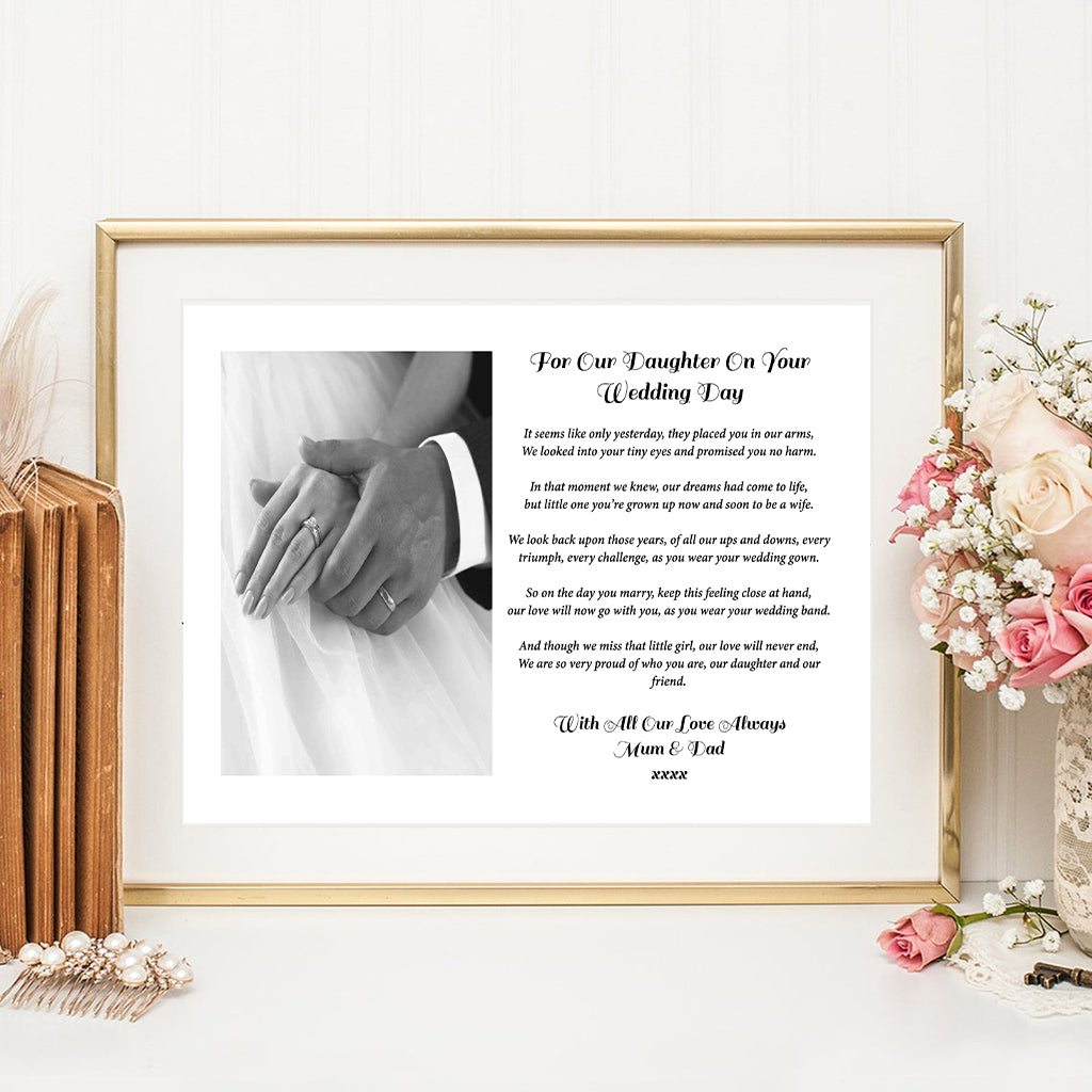 For Our Daughter On Your Wedding Day Personalised Poem Media