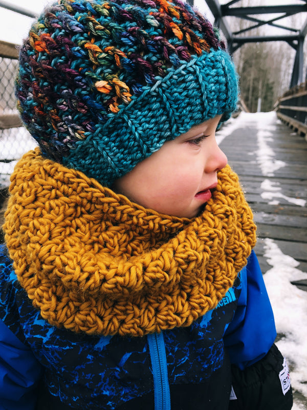 Winter Rose Cowl - Toddler - Ochre