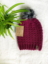 Load image into Gallery viewer, Winter Rose Beanie - Adult - Wine