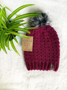 Winter Rose Beanie - Adult - Wine
