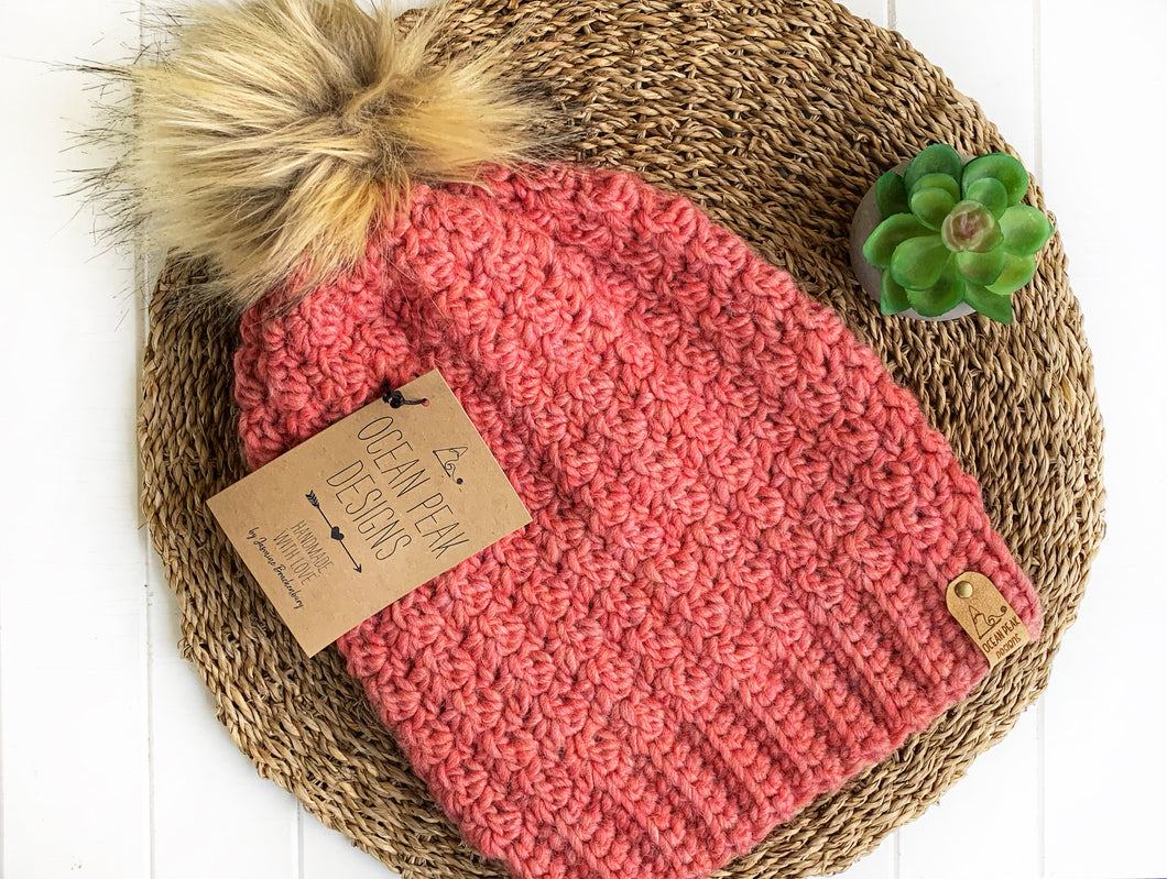 Winter Rose Beanie - Adult - Spotted Pink