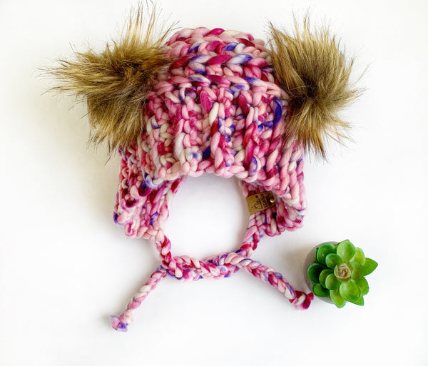 Luxed Bumble Bear Hat - Toddler - Cherry Vanilla
