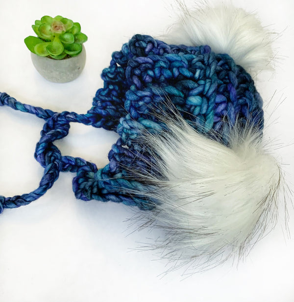 Luxed Bumble Bear Hat - 6-12 months - Azules