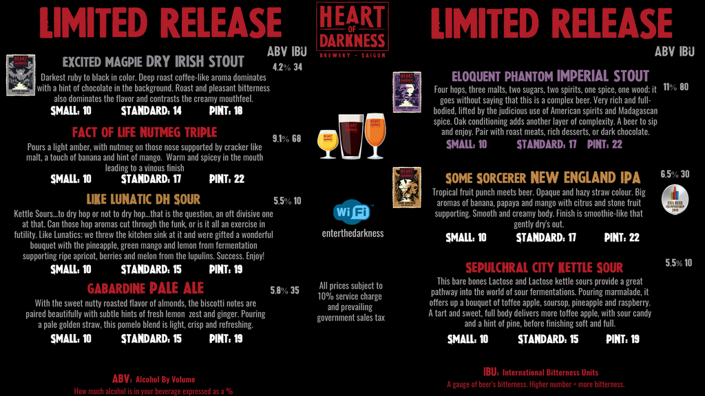 craft beer in singapore heart of darkness beer menu