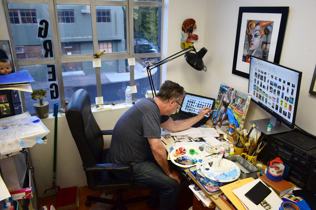 Gregory Hergert working in his studio in downtown Portland, OR.